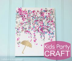 Cute confetti canvas. Makes an awesome kids party craft idea that doubles as a party favor!