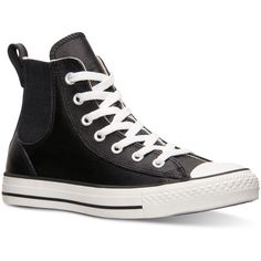 Converse Women's Chuck Taylor Chelsee Leather Casual Sneakers from... ($50) ❤ liked on Polyvore featuring shoes, sneakers, leather shoes, converse trainers, converse footwear, real leather shoes and genuine leather shoes