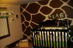 Baby's Safari Theme Nursery with brown and tan, giraffe print wall painting technique. First we chose the baby bedding and that is what inspired the safari nursery theme.   Q Could you tell us more about the crib set that was the inspiration