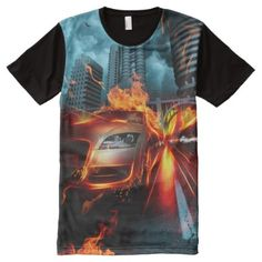 Fire Car Fantasy All-Over Print T-Shirt - tap, personalize, buy right now! Shirt Style, Your Style, Shirt Designs, Fire, Fantasy, Unique, Mens Tops, T Shirt, Stuff To Buy
