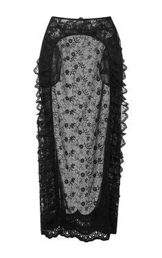 Black Lace Lined Midi Skirt  by Simone Rocha Now Available on Moda Operandi