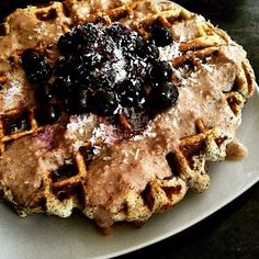 Waffles topped with blueberries and Honey Pecan Coconut Butter.