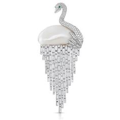 twentyonejewelsA diamond and pearl swan brooch, by Cicada New York. #newyorkcity…