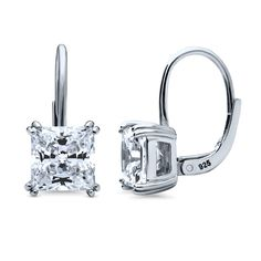 bfc733332cae25 Sterling Silver Princess CZ Solitaire Leverback Dangle Earrings 4 CTW
