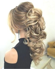 wedding hairstyles ponytail high wavy ponytail, long blonde hair with highlights, long hair wedding styles, black top Wavy Wedding Hair, Long Hair Wedding Styles, Wedding Hairstyles For Long Hair, Elegant Hairstyles, Bridal Hairstyles, Beautiful Hairstyles, Popular Hairstyles, Formal Wedding, Natural Hairstyles