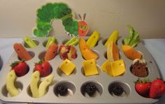 ...the very hungry caterpillar ate some apples, blackberries, strawberries, cheese, cake, hot dogs, pie, cantaloupe, celery, and pickles... but he was still hungry. So he ate his way through a lettuce leaf as well ;-)