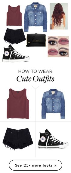 """Cute Outfit #228"" by sally-mumford on Polyvore featuring moda, Monki, True Religion, Converse e MICHAEL Michael Kors"