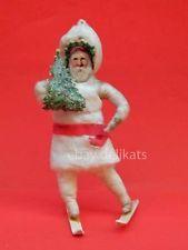 Antique Victorian spun cotton Christmas ornament Santa Claus skier ski sci