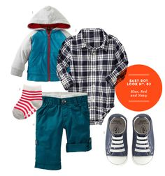 Baby Boy Clothes: Baby Boy Inspiration Board #03: Blue, Red and Navy Baby Boy Outfit from The Kids' Dept.