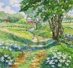 Afternoon on the Farm Storybook Cottage Series - Original Fine Art for Sale - © Alida Akers