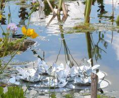 Recycling for garden art - lily pad floating sculpture #floatingsculpture #gardenart