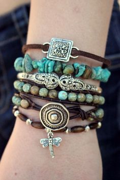 Turquoise Boho Leather Bracelet Stack – Featured In Vogue Magazine – Green Turquoise Bohemian Combo Includes 4 Bracelets - new season bijouterie Bohemian Jewelry, Diy Jewelry, Handmade Jewelry, Jewelry Design, Jewelry Making, Jewlery, Bohemian Bracelets, Artisan Jewelry, Jewelry Ideas
