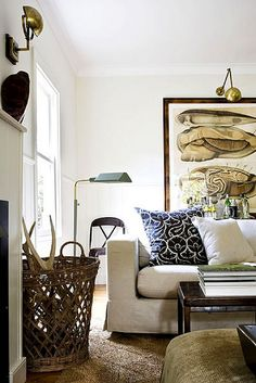 Gregory Mellor {off - white vintage rustic living room} by recent settlers, via Flickr
