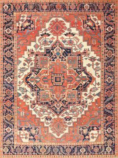 Antique Persian Serapi Rug 47535