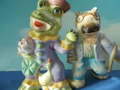 Dressed Frog & Hippopotamus Salt Pepper Shakers- Large 6 Tall by Ardalt Japan Anthropomorphic. $54.00, via Etsy.