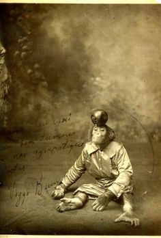 Vintage circus monkey dressed in costume