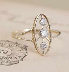 Art Deco Spokes Engagement Ring