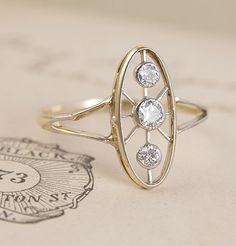 Art Deco Spokes Engagement Ring