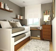 unique bedroom ideas for small rooms for bedroom design ideas for small spaces. minimalist bedroom You can find out more details at the link of the image. Bunk Beds Small Room, Beds For Small Spaces, Small Bedroom Storage, Small Space Bedroom, Small Bedroom Designs, Small Bedrooms, Loft Beds, Twin Beds, Loft Storage