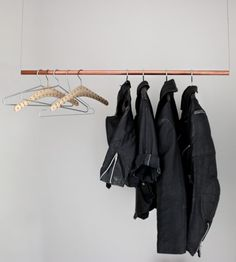 first saw this on curbly, love aesthetics from ivania carpio created it..floating clothes rack super simple