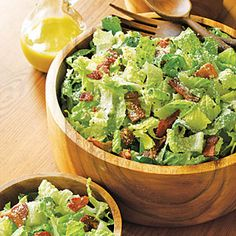 Bacon Caesar Salad | MyRecipes.com  My favorite bacon salad is similar to this but with mozzarella cheese and oil and vinegar for dressing.  Yummy!