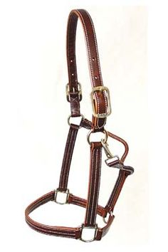 Walsh triple stitch leather show halter (british tan), Track style