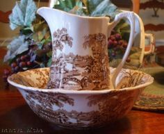Vintage Brown Transferware Bowl and Pitcher Tonquin Swans Roses
