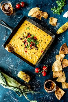 Roasted Corn Queso with Black Beans and Spicy Green Chiles