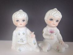 Set Of 2 Boy & Girl Figurine Pair Holding A Flower Made In Japan in People | eBay