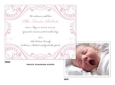 Prints Charming Paper Pink Lacy Border Sweet Petite Digital Photo Birth Announcement