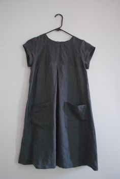 "tent-shaped dress with buttons in the back. pattern is from japanese book ""daily sewing book""."