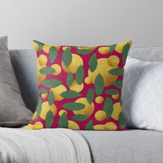 'Leaves and golden orb abstract' Throw Pillow by Amanda D-Hay