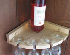 Items similar to Oak Convex Stemware/Wine Bottle Corner Rack.- Items similar to Oak Convex Stemware/Wine Bottle Corner Rack on Etsy Bares - Wood Wine Racks, Wine Glass Rack, Wine Bottle Holders, Glass Holders, Wine Bottles, Corner Wine Rack, Corner Shelf, Wine Decor, Rack Design