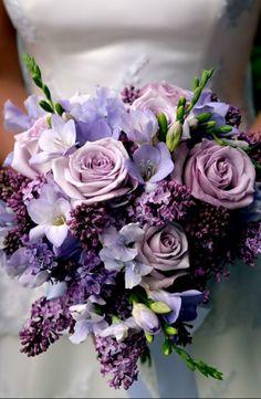 Wedding bouquet ● Purple Rose, Sweet Pea, Freesia and Lilac.. #bouquet #purple