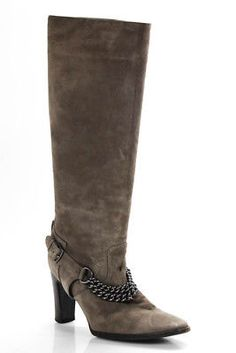 Hermes Gray Suede Leather Chain Detail Knee High Boots Size 39 9