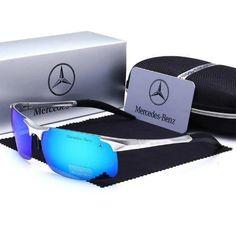 Luxury Aluminum Polarized HD Men Sunglasses Silver Blue – fingla.com Best Mens Sunglasses, Sunglasses 2017, Sunglasses Price, Trending Sunglasses, Stylish Sunglasses, Sports Sunglasses, Polarized Sunglasses, Sunglasses Accessories, Mercedes Benz