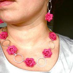 Cerise Pink Flower Necklace on Luulla