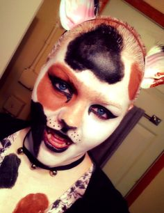 I'm a Calico cat for my 3 year old nephew. I'm not happy with it, but it's for him so it doesn't matter. Be safe tonight, everyone. Cat Makeup, Happy Halloween, Halloween Face Makeup, Eye, Cats, Gatos, Kitty Cats, Cat Breeds, Kitty
