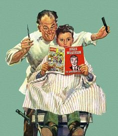 Roger Wilkerson, The Suburban Legend! — Barber Shop - have a great Saturday folks! Tony Barber, Barber Man, Pin Up, Barber Pictures, Barber Poster, Barber Tattoo, Shaved Hair Cuts, Norman Rockwell Art, Mystic Messenger Memes