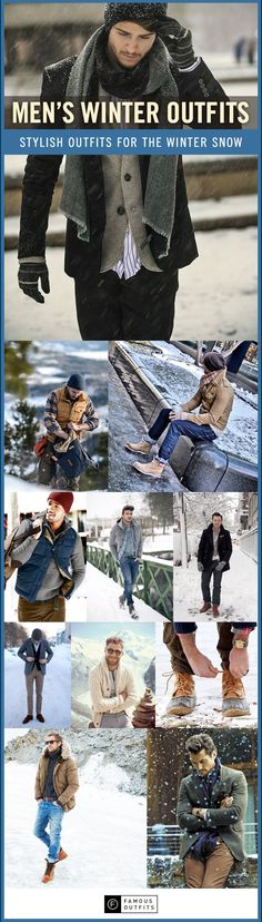 Enjoy our collection of men's winter outfits to help you stay stylish while out in the snow.