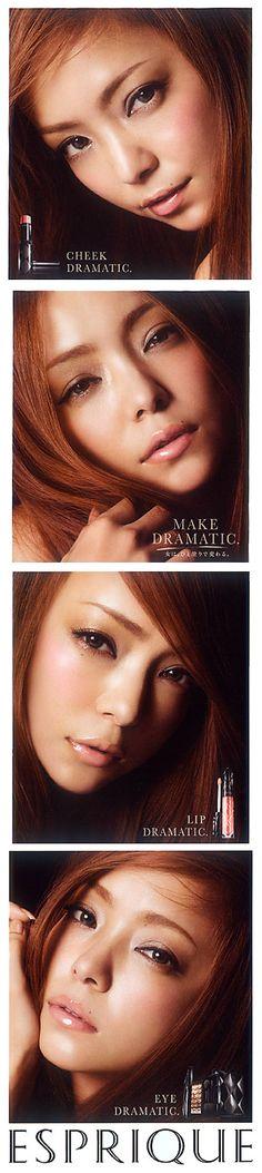 Namie Amuro (Japanese Singer). ESPRIQUE by KOSE (Cosmetics company). Leaflet 2012. 4face,expression.