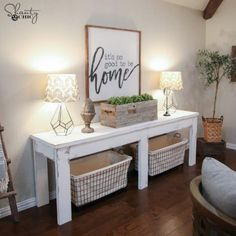 Want the farmhouse look in your living room or entryway? This console table from Shanty 2 Chic costs less than $40 to make!