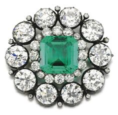 Fine Emerald and Diamond Brooch, Late Century - Centring on a step-cut emerald within a surround of circular-cut diamonds, detachable brooch pin. Antique Brooches, Antique Jewelry, Vintage Jewelry, Royal Jewelry, Silver Jewelry, Mourning Jewelry, Art Deco Period, Diamond Brooch, Fantasy Jewelry