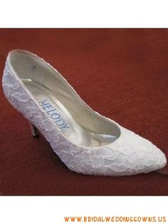 Buy White Vintage 3.5'' High Heel Pointed Toe Lace Wedding Bridal Shoes on bridalweddinggowns.us with low price and high quality