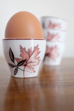 """Vintage mid century 1950s Midwinter Stylecraft """"Arden"""" egg cups with autumnal design. From TheThirdQuarter on Etsy. Mid century modern. MCM. Ceramics. Pottery."""