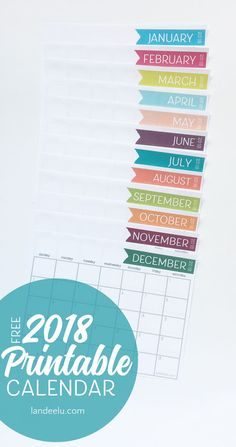 A free printable calendar for 2018! Get organized with this ink-friendly, clean and darling calendar!