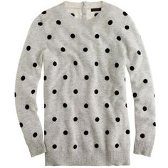 J.Crew Collection cashmere polka-dot sweater ($140) ❤ liked on Polyvore