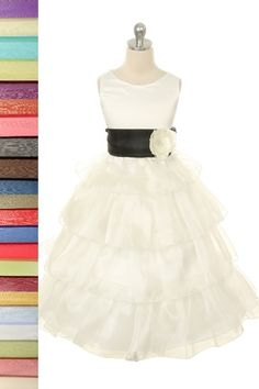 79462da4f A beautiful ivory flower girl dress with 30 sash color selections to choose  from to match