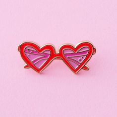 wear your heart on your sleeve and your heart sunnies on your collar! this rose-tinted pair from little arrow is tipped in brass and perfect. take notes, lolita. the details- - 1 in. Red And Pink, Pretty In Pink, Hot Pink, Lavender Brown, Jacket Pins, Cool Pins, Red Aesthetic, Little Doll, Pin And Patches