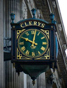 Clery's Clock - outside the store on O'Connell Street, Dublin. A famous Dublin… Big Clocks, Father Time, Time Stood Still, As Time Goes By, Dublin Ireland, Cork Ireland, Dublin Bay, Irish Eyes, Republic Of Ireland